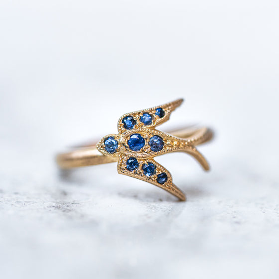 Sapphire Swallow Ring