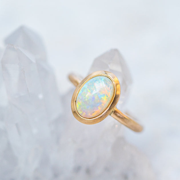 Crystal opal lozenge ring