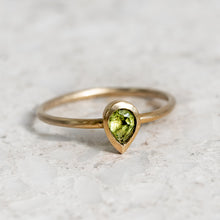 Pear Shape Peridot Stacking Ring