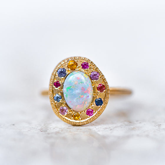 Rainbow Opal Pebble Ring