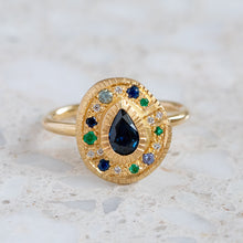 Shades Of Blue Pear Pompeii Sapphire Ring
