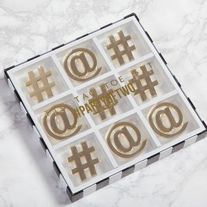 White/Gold Tic Tac Toe Board