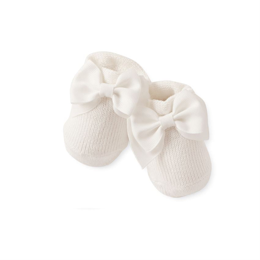 Ivory Knit Bow Booties