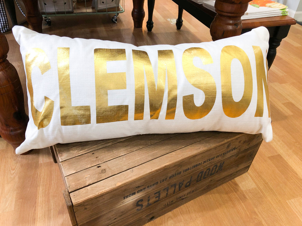 Gold Foil CLEMSON Oversized Lumbar Pillow