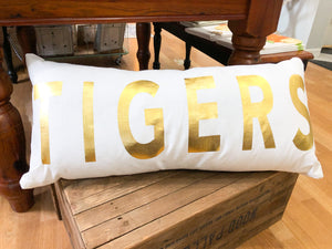 Gold Foil TIGERS Oversized Lumbar Pillow