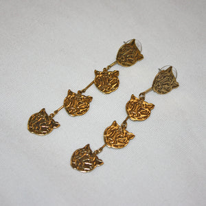 Tiger Head 4-Tier Earrings
