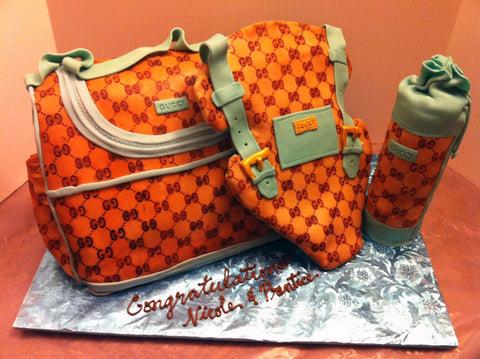 Custom Cake Design using a Gucci Stencil