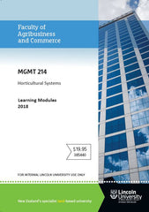 MGMT 214 HORTICULTURAL SYSTEMS Learning Module