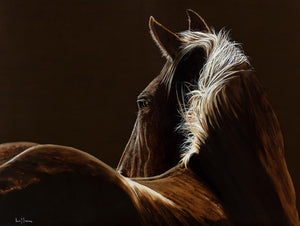 Original oil painting by Lew Brennan of a palamino horse looking from rear towards head in dark tones