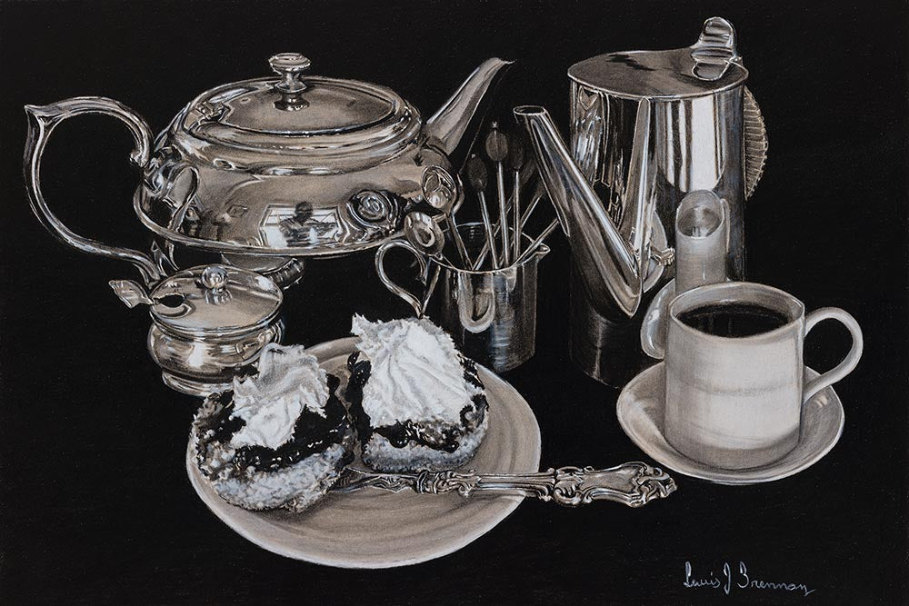 Original realist charcoal drawing artwork by Lew Brennan of a tea setting and scones