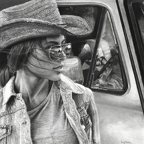 Realist charcoal drawing by lew brennan of a girl with sunglasses and cowgirl hat on in front of an F150 truck