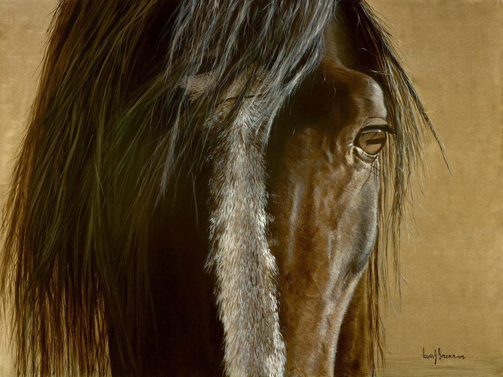 Original realist oil painting artwork by Lew Brennan of a chestnut horses face and eye