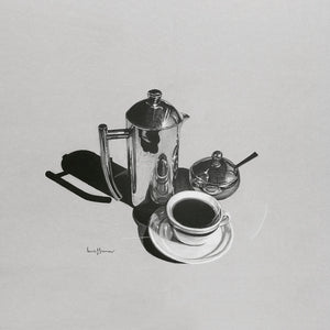 Original realist charcoal drawing artwork by Lew Brennan of a coffee pot cup and saucer and sugar bowl