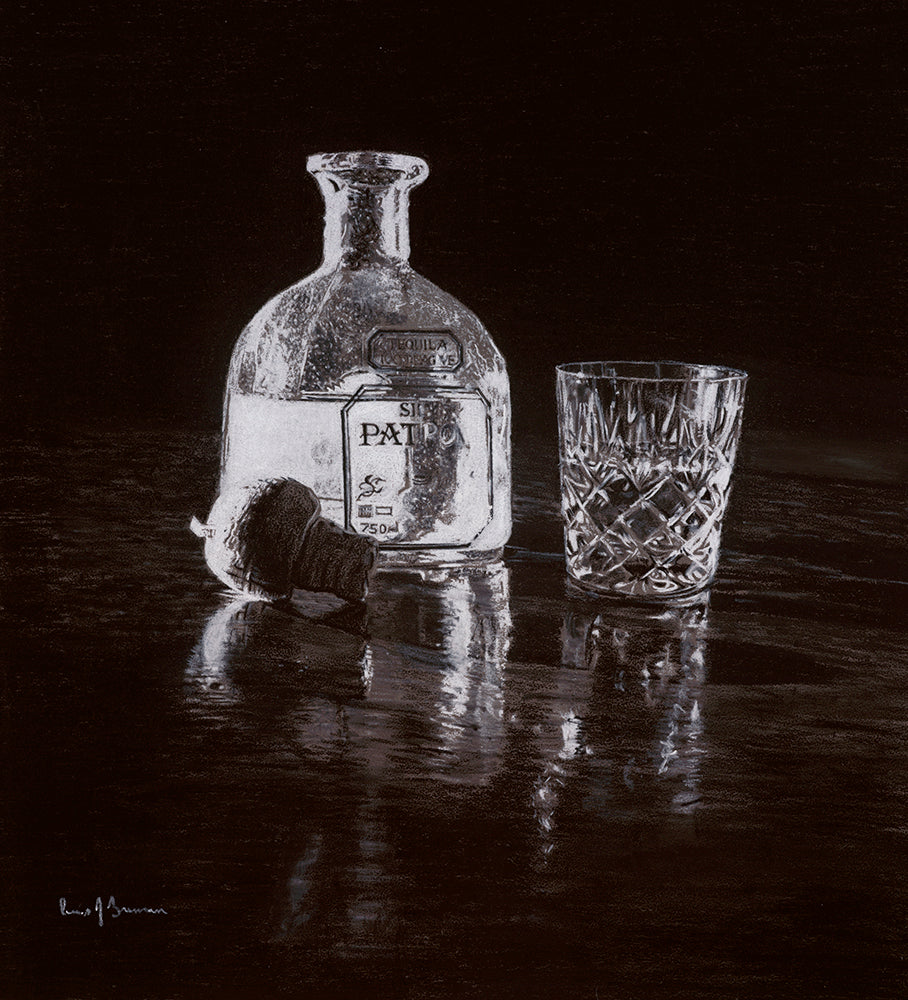 Realism charcoal drawing artwork by lew brennan of a patron tequila bottle and crystal glass
