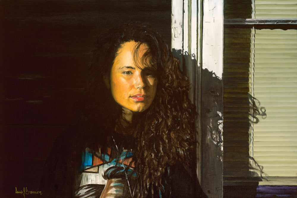 Original realist oil painting artwork by Lew Brennan of a curly haired girl next to vertical blinds in shadow