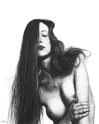 Original realist charcoal drawing artwork by Lew Brennan of a naked woman with long hair over face