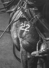 Load image into Gallery viewer, Realsim charcoal artwork drawing by Lew Brennan of a polo horse number 22 with riders boots and tack