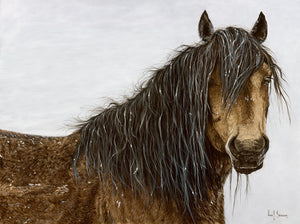 Original realist oil painting artwork by Lew Brennan of a chestnut horse wild brumby in the snow