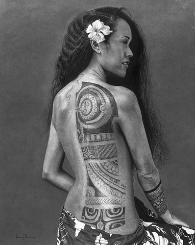 Realism charcoal drawing of a Hawaiian Princess with traditional back tattoo and hibiscus in hair wearing a sarong by Lew Brennan