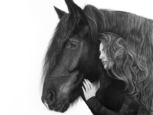 Original realist charcoal artwork by Lew Brennan of a horse in side profile with a girl