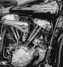 Load image into Gallery viewer, Realism charcoal drawing artwork by lew brennan of a harley davidson motorcycle motorbike motor engine