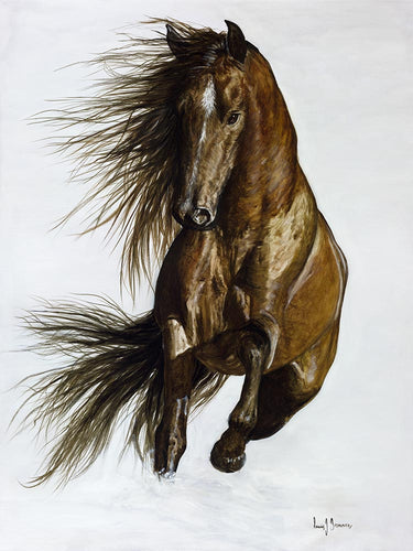 Realsim oil painting of a chestnut horse galloping through the snow by Lew Brennan