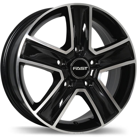 FAST TRANSPORT F222 WHEEL - GLOSS BLACK W/ MACHINED FACE 16''