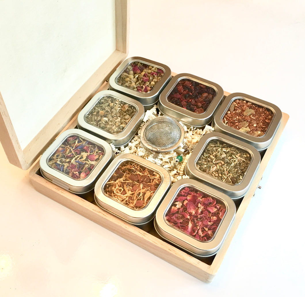 Herbal Tea Sampler Gift Box with 8 Tins of Tea