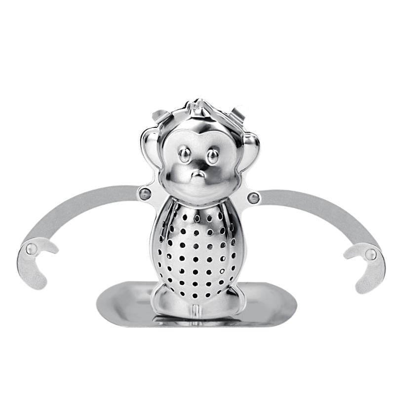 Stainless Steel Monkey Loose Tea Leaf Infusers Convenient Cute Strainer Herbal Filter Tray Spice Diffuser Tea Tools