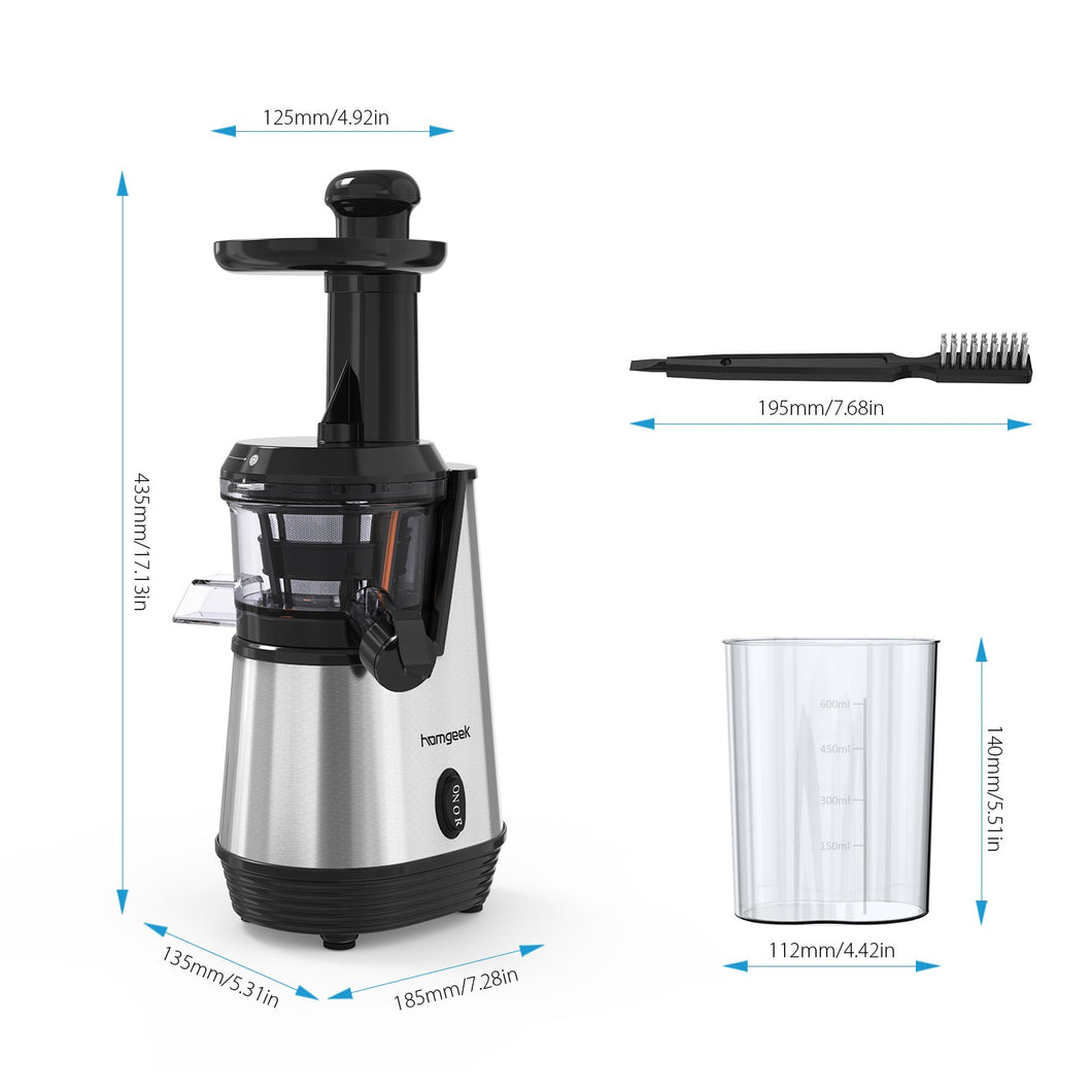 Homgeek 120V Slow Juicer Electric Juice Extractor Juice Maker Low Speed Juice Machine Fruits Juice Squeezer with Juice Cup and Brush
