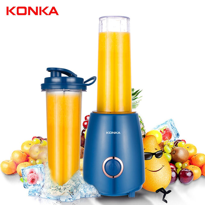 KONKA KJ-JF302(WE) Blender Mixer 500ml Electric Juicer with Portable Bottle 4 Blades for Juice Shakes Baby Food Smoothie Blender Electric Countertop Blender On-the-go Bottle