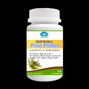 Longevity Support,Shell-Broken Pine Pollen,Cracked Cell Wall,Enhance Whole-body Function,Nutrient Dense Superfood,100pcs/bottle