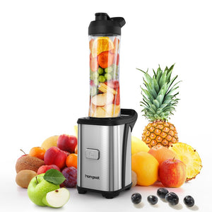 Homgeek Mini 350W Fruit and Vegetable Single Serve Extractor Personal Smoothie Blender Detachable Food Processor Vegetable Fruits Blender With BPA-Free Travel Sport Cup 100-120V