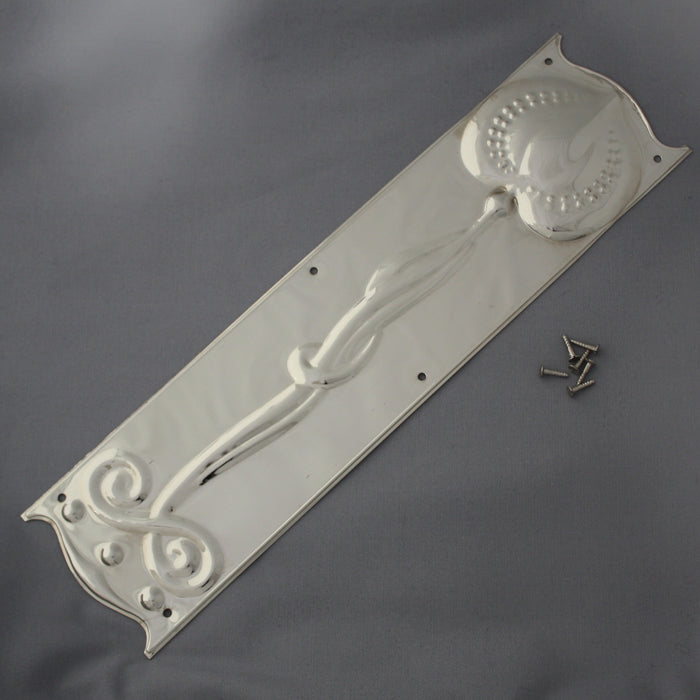 Nickel Art Nouveau Door Plate