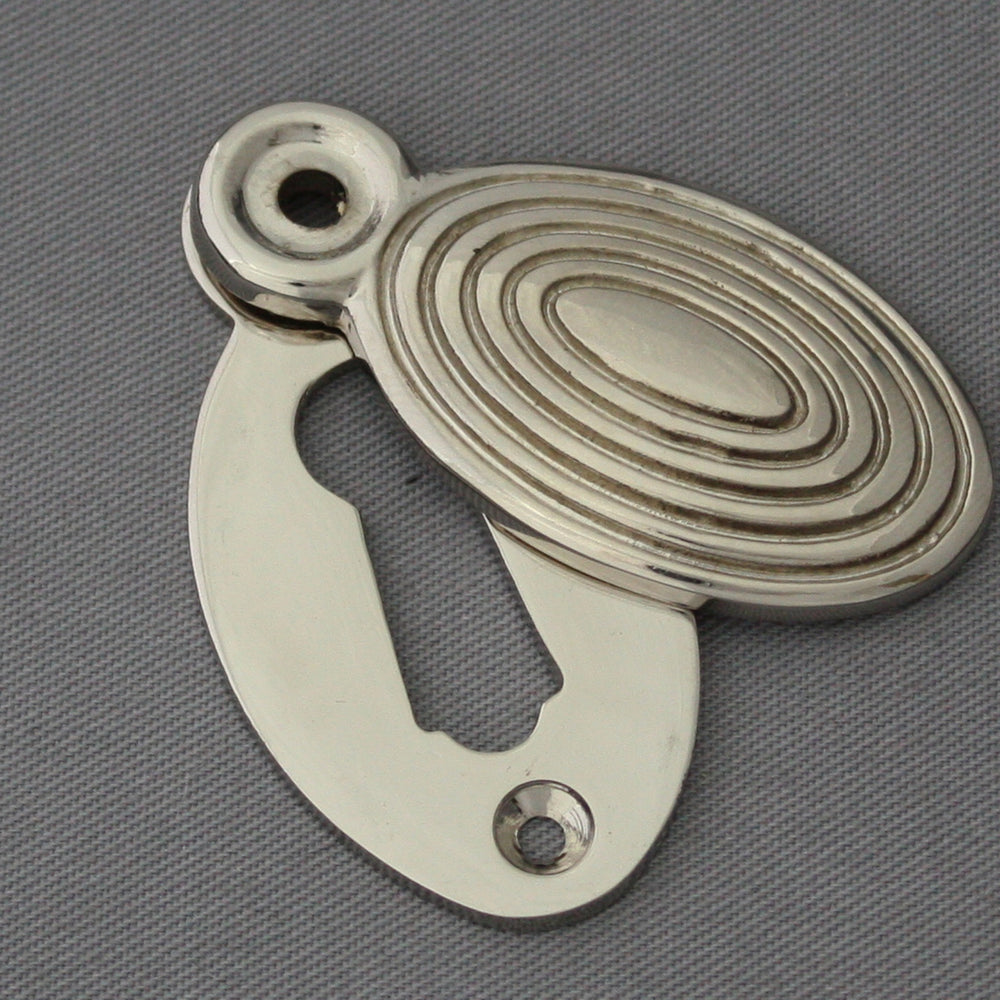Nickel Beehive Oval Escutcheon