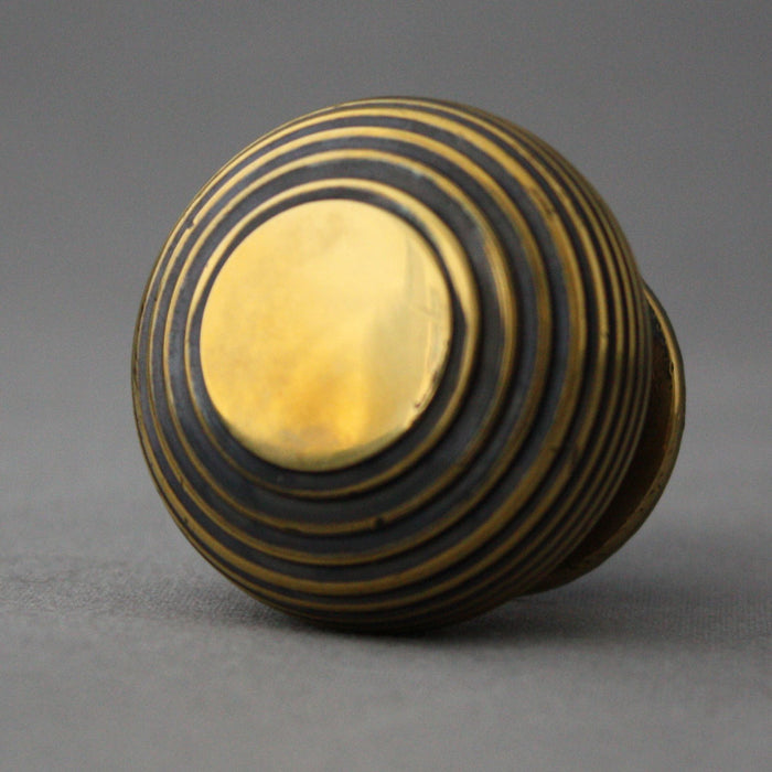 Large Brass Beehive Cabinet Knob