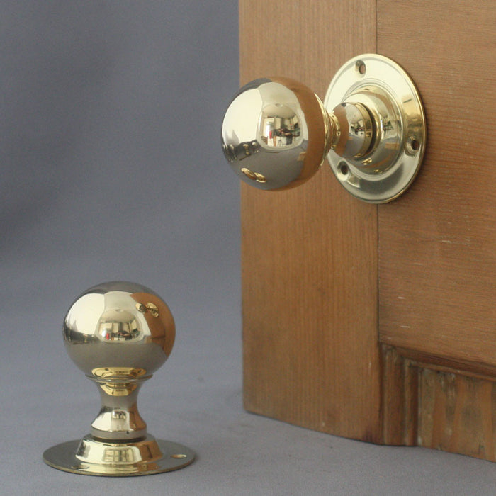 Edwardian Brass Ball Door Handles