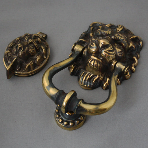 Brass Lions Head Front Door Set