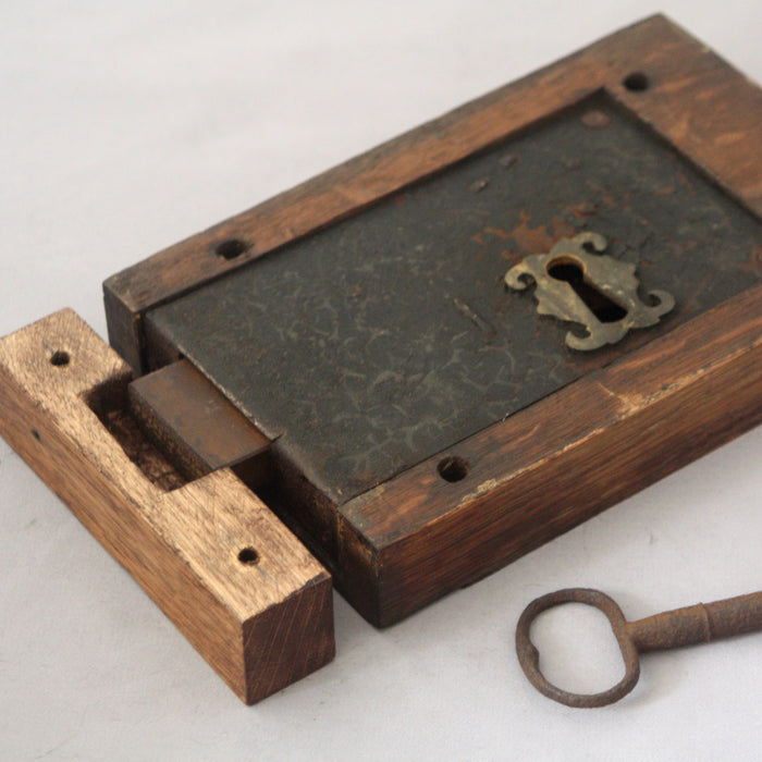 Georgian Antique Oak Stop Lock