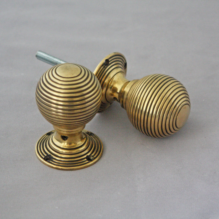 Large Brass Edwardian Beehive Door Knobs