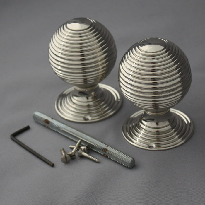 Period Nickel Beehive Large Door Handles