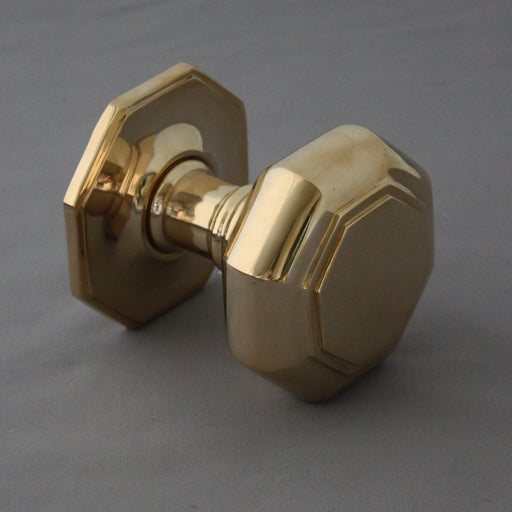 Large Brass Octagonal Front Door Pull