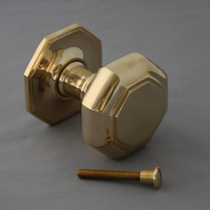 Brass Large Octagonal Front Door Centre Pull