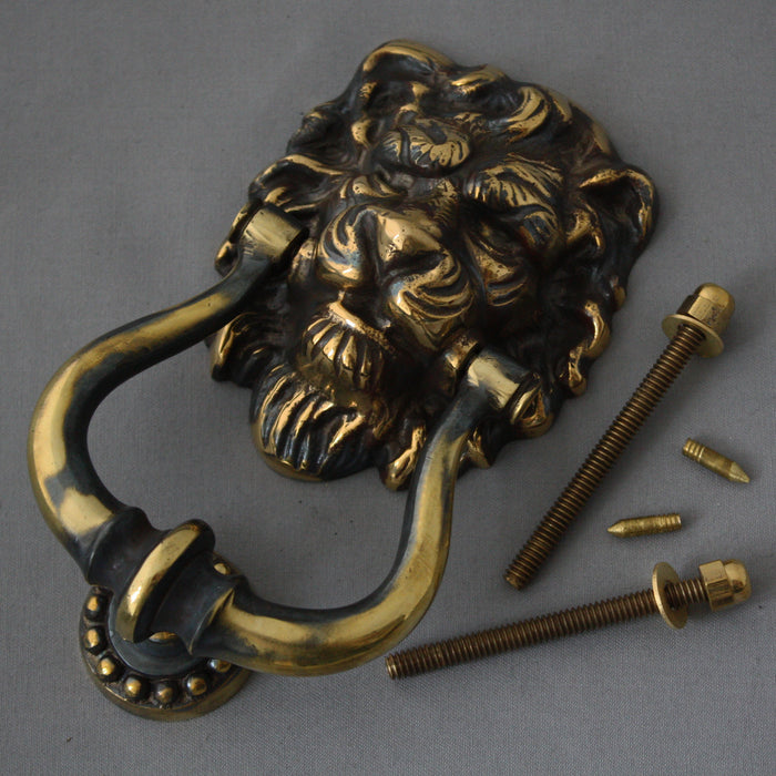 Brass Victorian Lions Head Yale Cover and Door Knocker