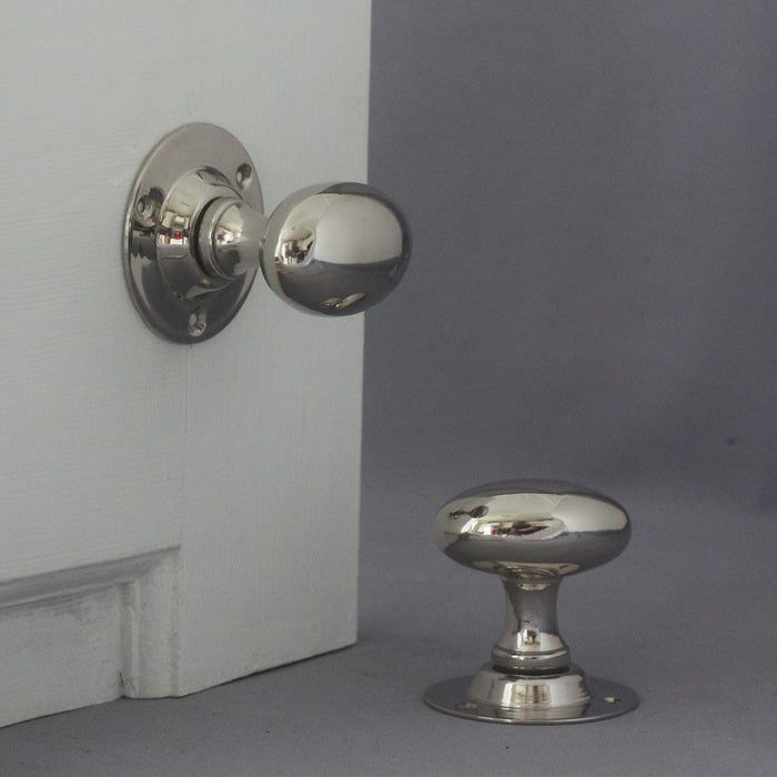 Edwardian Nickel Oval Door Handles