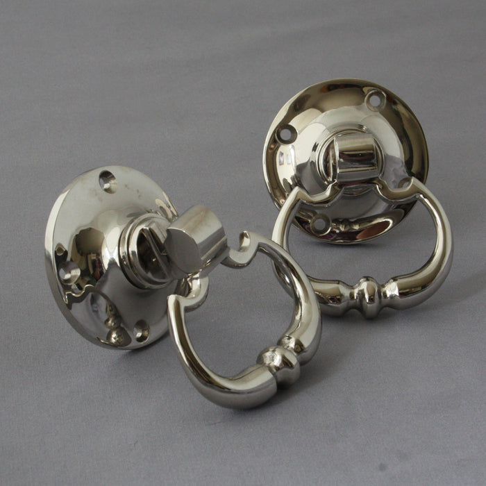 Nickel Period Drop Ring Door Handles