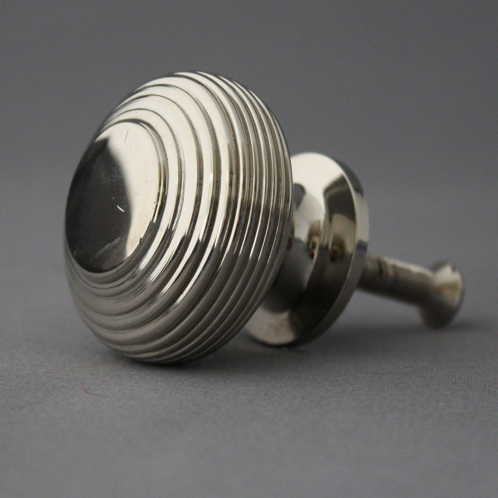 Large Victorian Nickel Beehive Cabinet Knob