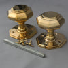 georgian brass octagonal door furniture