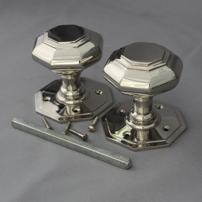 Nickel Octagonal Georgian Door Handles