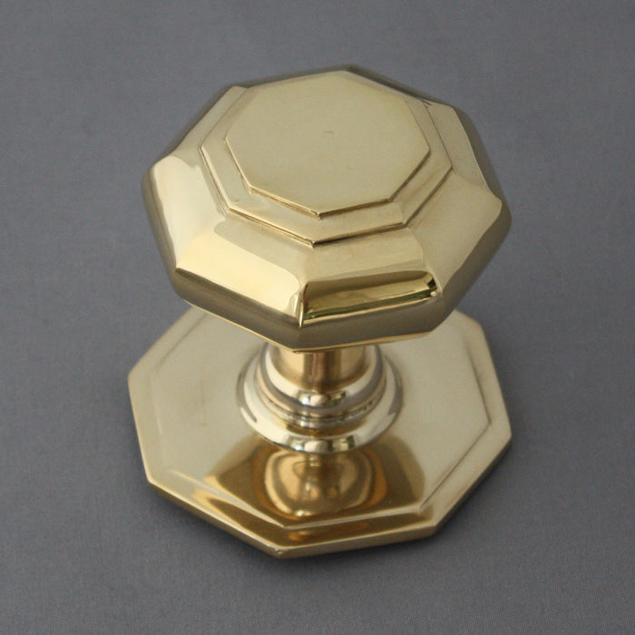 Brass Octagonal Front Door Centre Pull